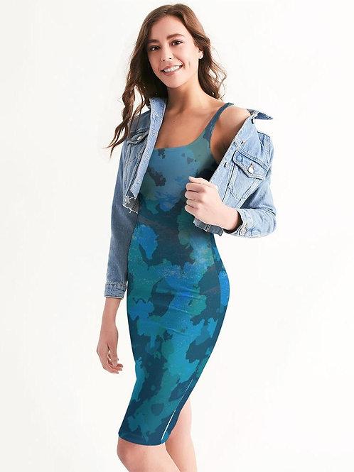 Women's Ocean Camo Casual Midi Bodycon Dress