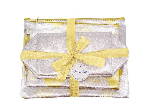 Glitter Makeup Bag Set - Silver