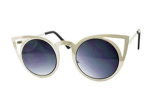 Silver Cateye Metal Sunglasses