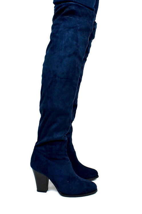 Women's Over the Knee Cloth Heeled Boot Navy