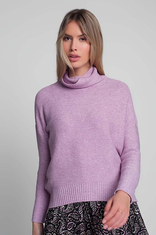 Oversized Jumper With Cowl Neck in Pink