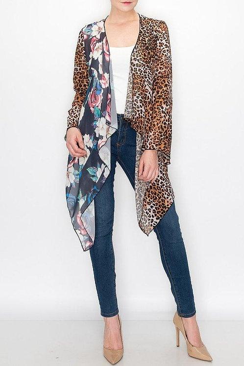 Animal Print Color Block Cardigan