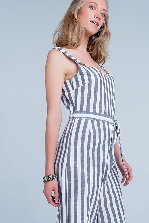 Brown-White Striped Jumpsuit