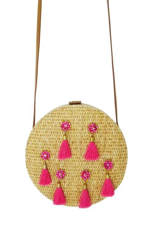 Circle Tassel Crossbody Handbag Pink