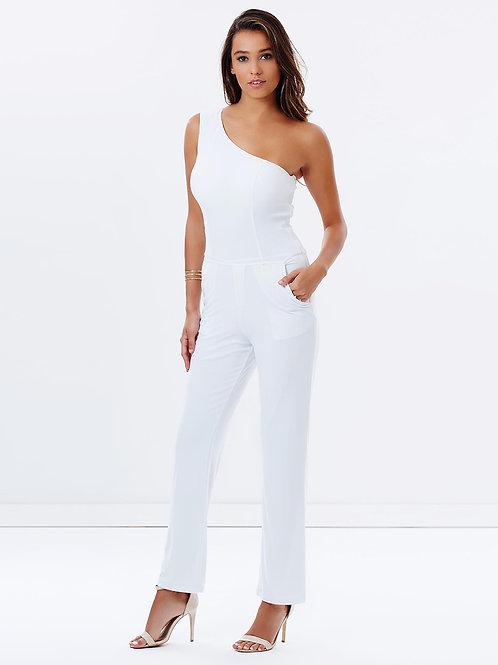 One Shoulder Pantsuit - White
