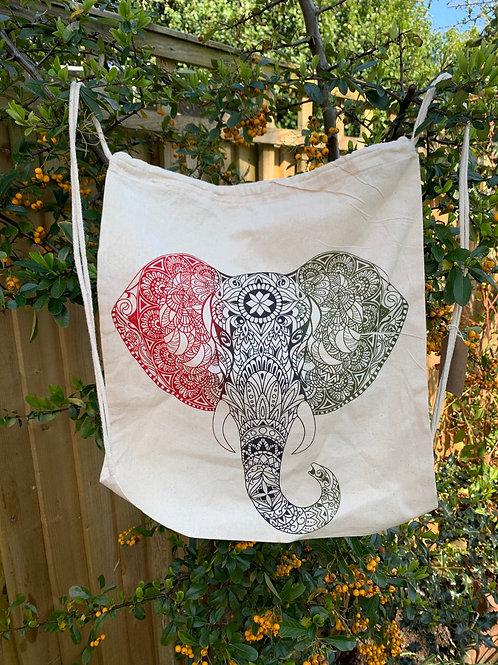 Elephant Yoga or Pilates draw string cotton canvas bag