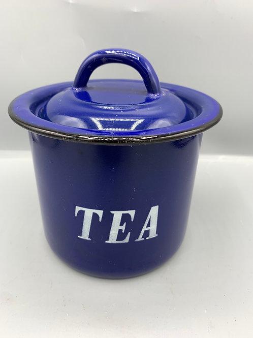 Vintage enamel tea caddy