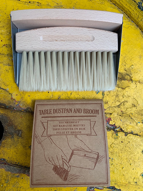 Magnetic table/work top dustpan & brush