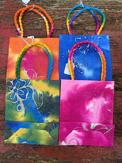 Small pink tie dye gift bag