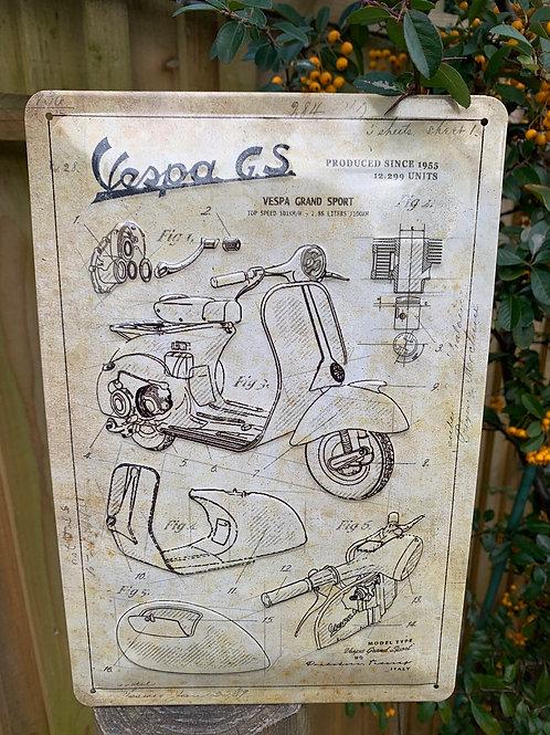 VESPA G.S parts sign
