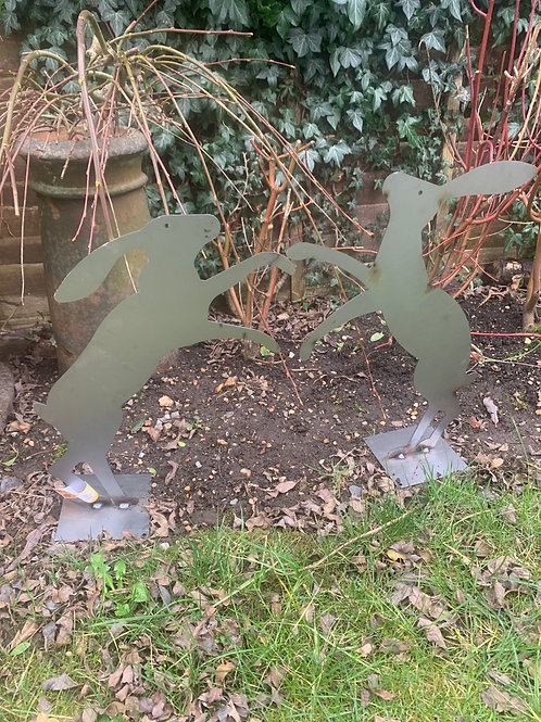 Pair of Heitage steel boxing hares