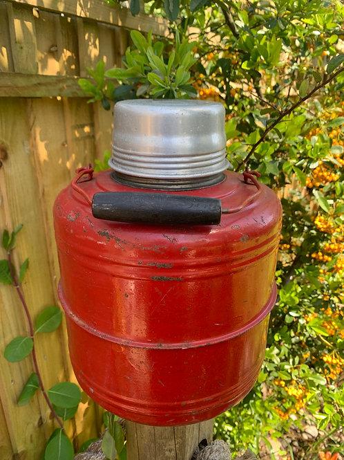 Large vintage galvanised & enamel camping thermos