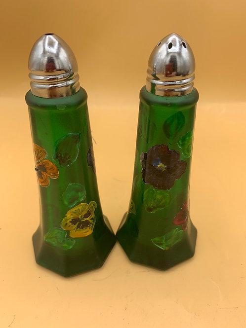 Green glass salt & pepper set