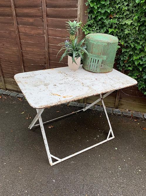 Vintage French folding iron garden table