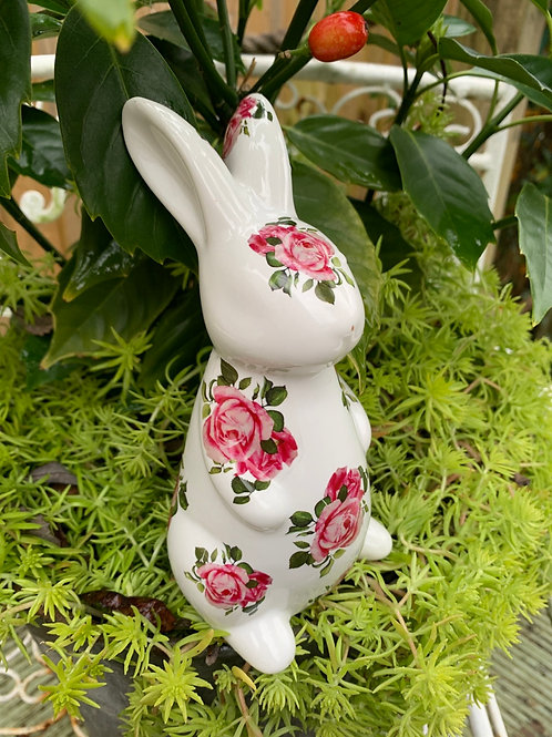 Rosebud ceramic bunny