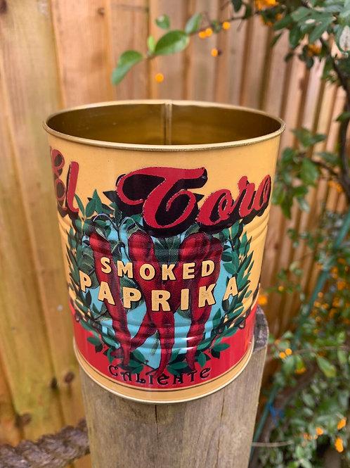 Paparika tin planter or utensil holder