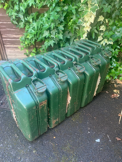 5 vintage military Jerry cans banded & ready to make a bench with!