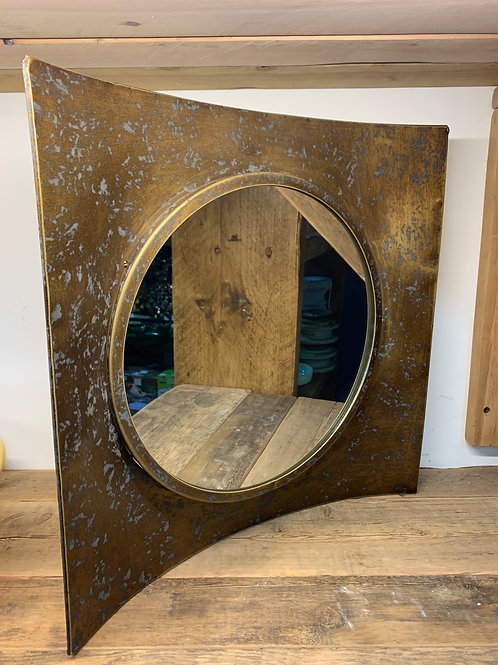 Rustic port hole style mirror