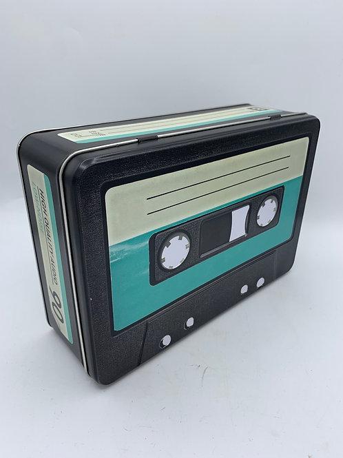 Large retro cassette tin box