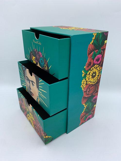 Turquoise Frida Kahlo 3 drawer storage unit