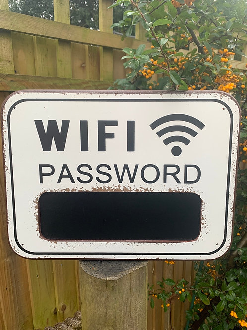 Giant chalkboard Wifi password sign