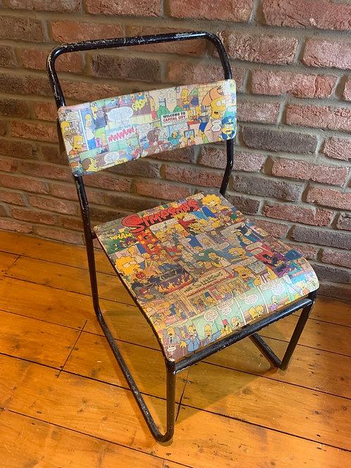 50's decoupaged metal Simpson's chair