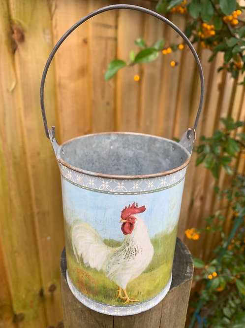 Cockerel handled tin