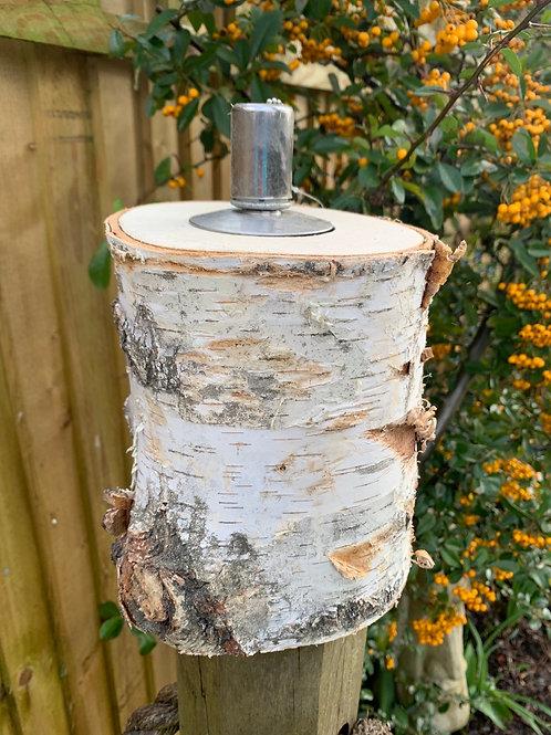 Birch Log oil lamp