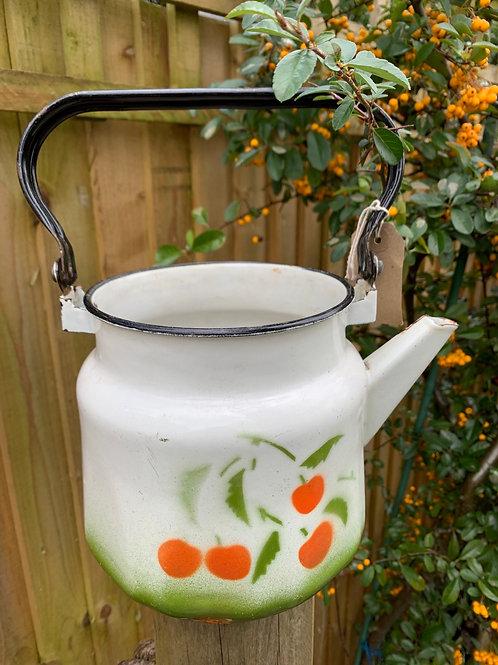 Vintage enamel kettle planter