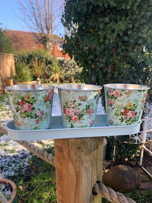Rose trio windowsill plant pot trough