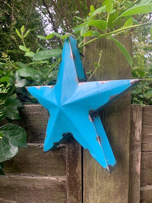 Medium metal blue star