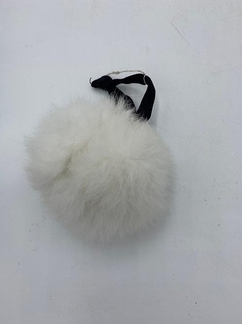 White fur ball hair toggle