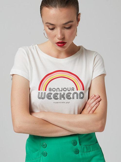 MME YEYE T-Shirt 'Bonjour Weekend'