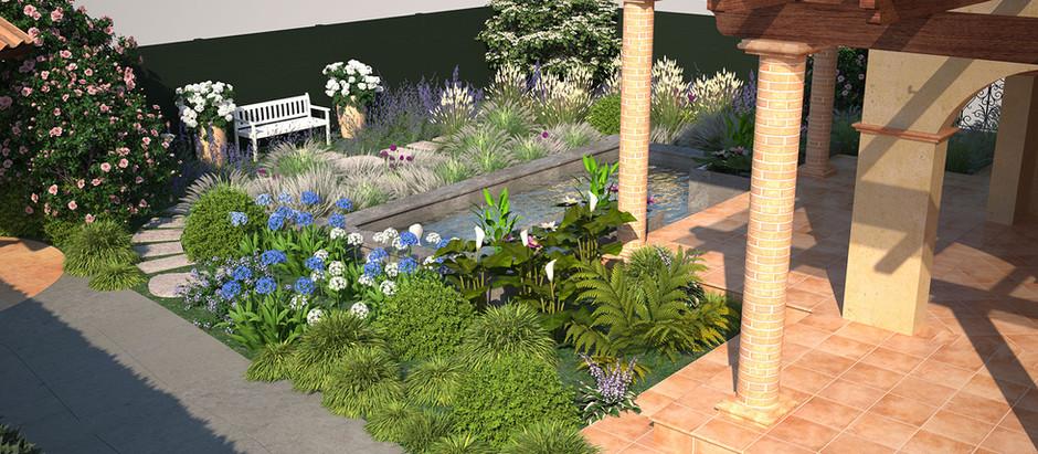 Una piscina in un piccolo giardino