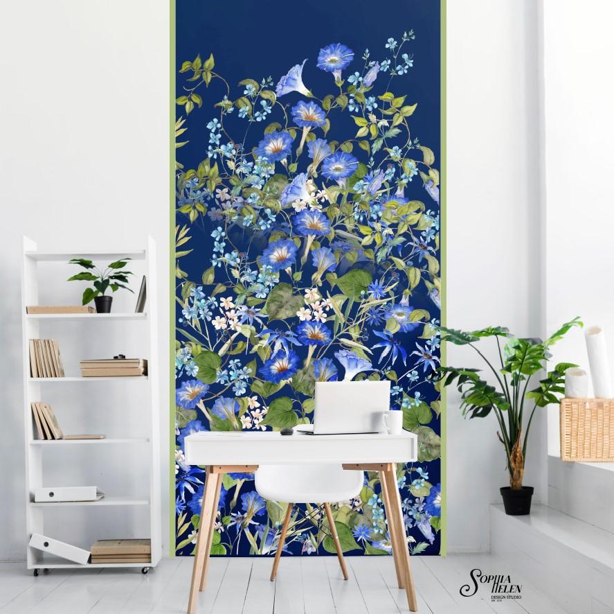 Lindelee Wallpaper Strip Wild Big blue o