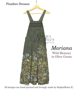 Mariana Pinafore Wild Memory in Olive Gr