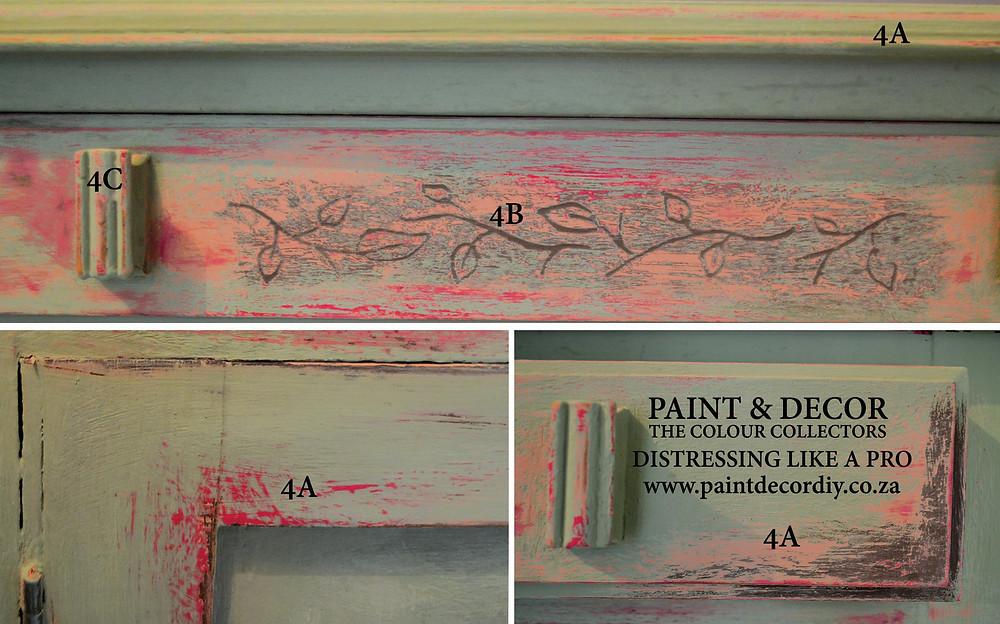 Details in distressing furniture