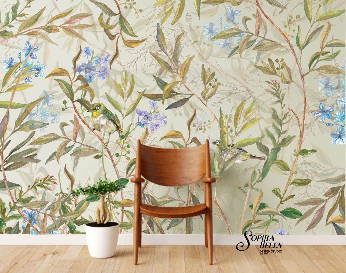 Mariana Romance Wallpaper wooden chair.j