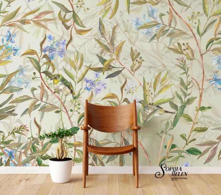Mariana Romance Wallpaper wooden chair.j