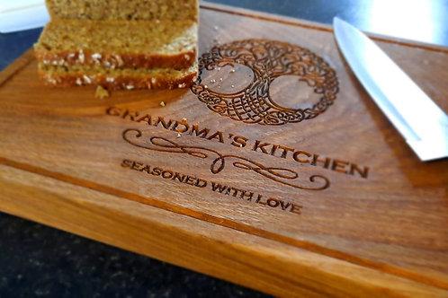 Oak Chopping Board Engraved Gift Family Tree Design