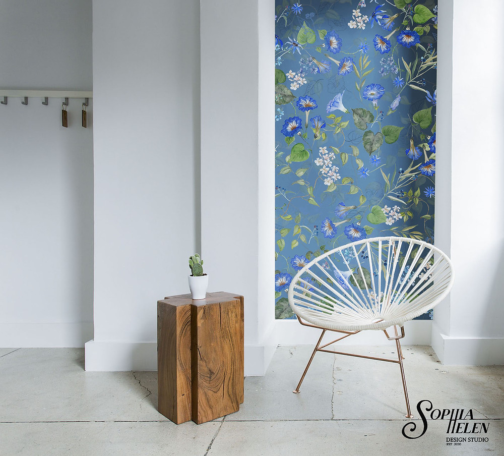 Using wallpaper strips in a room is a great decor hack