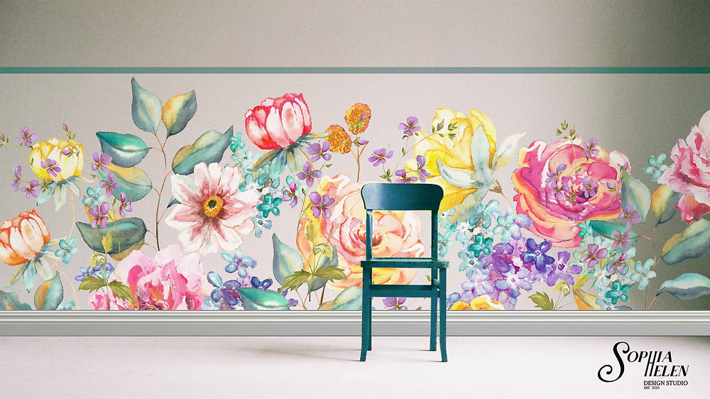 These hand-painted floral wallpapers are unique - you can choose any background colour. Wallpaper made in South Africa