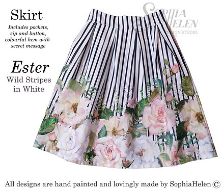 Ester Skirt / Wild Stripe / White