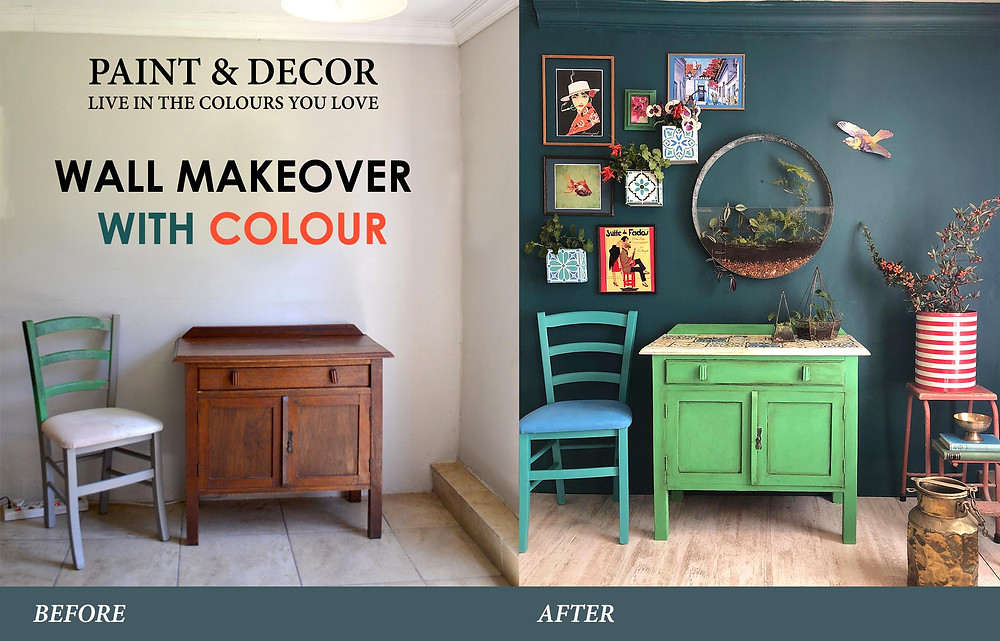 wall makeover with colour