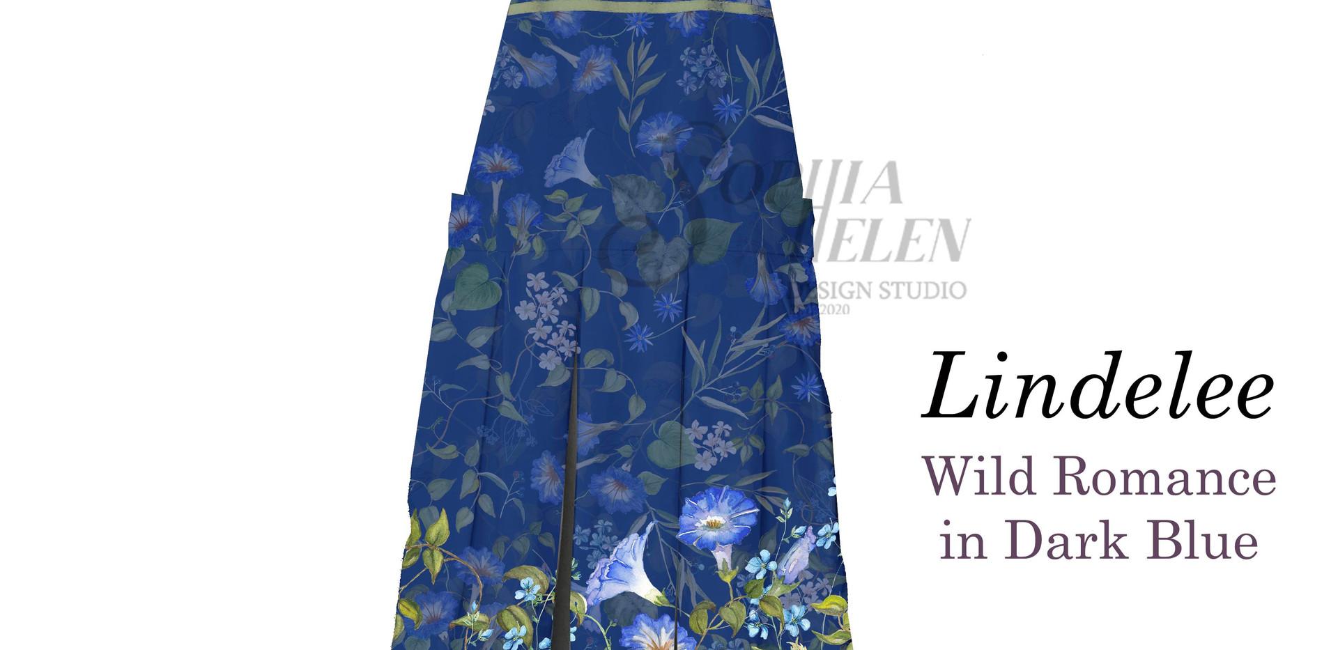 Lindelee Pinafore Wild Romance Dark Blue