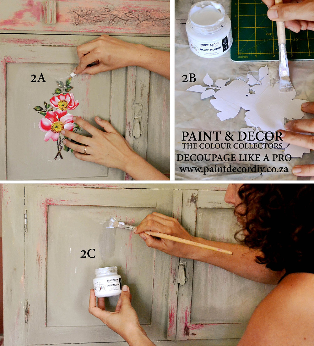 placeing your decoupage image on your furniture