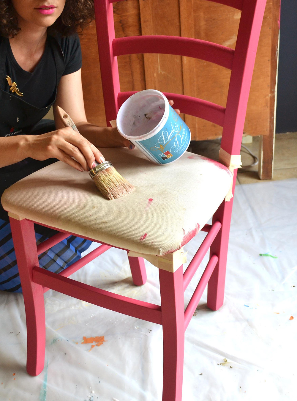 Wet the upholstery with water first