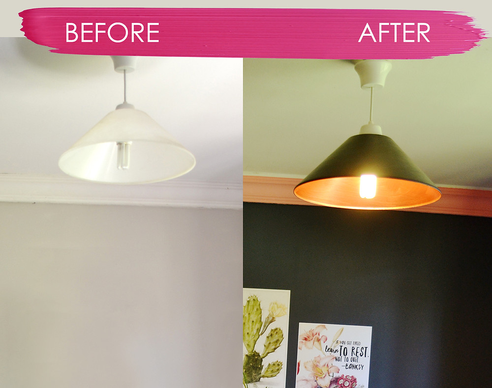 Before and after light shade.