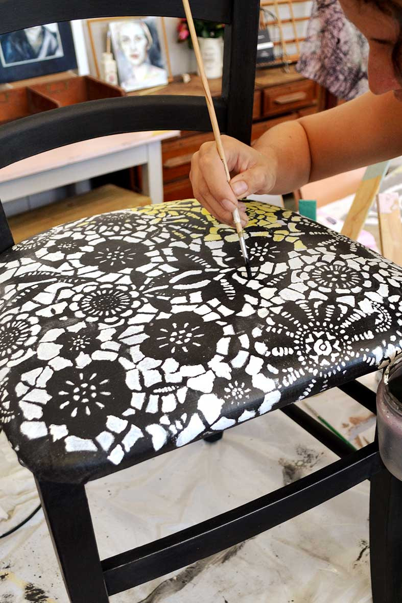 Stencil your upholstery with Annie Sloan