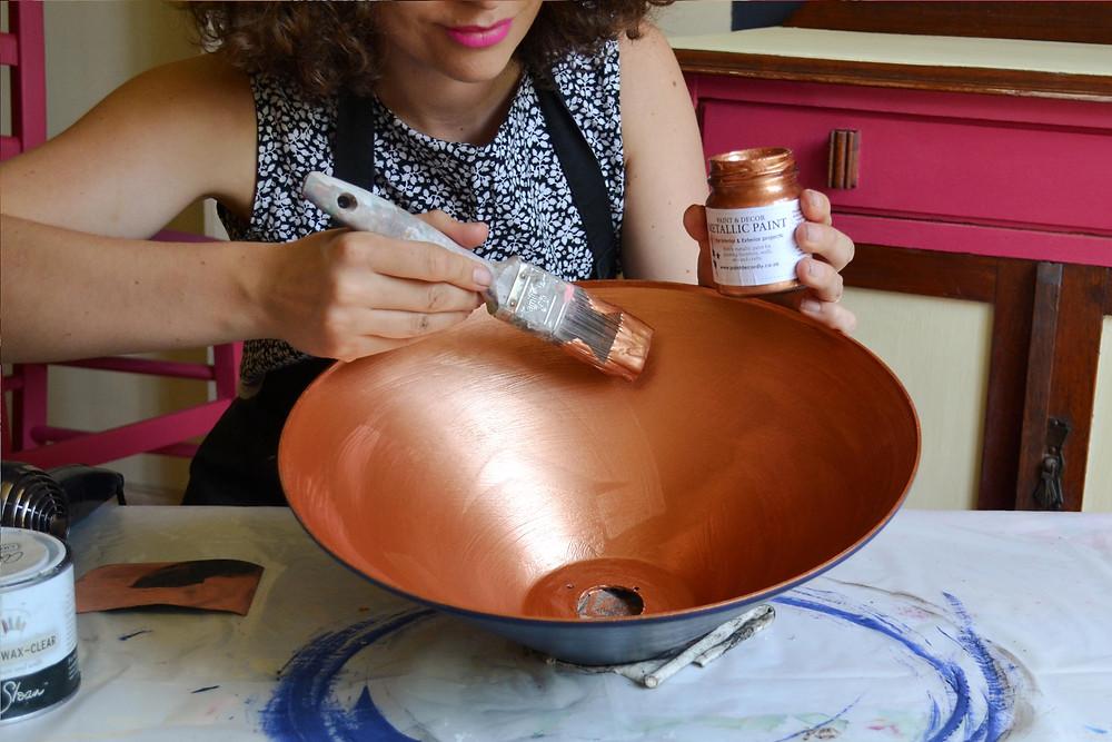 Apply a Second Coat Paint & Decor's metallic paint